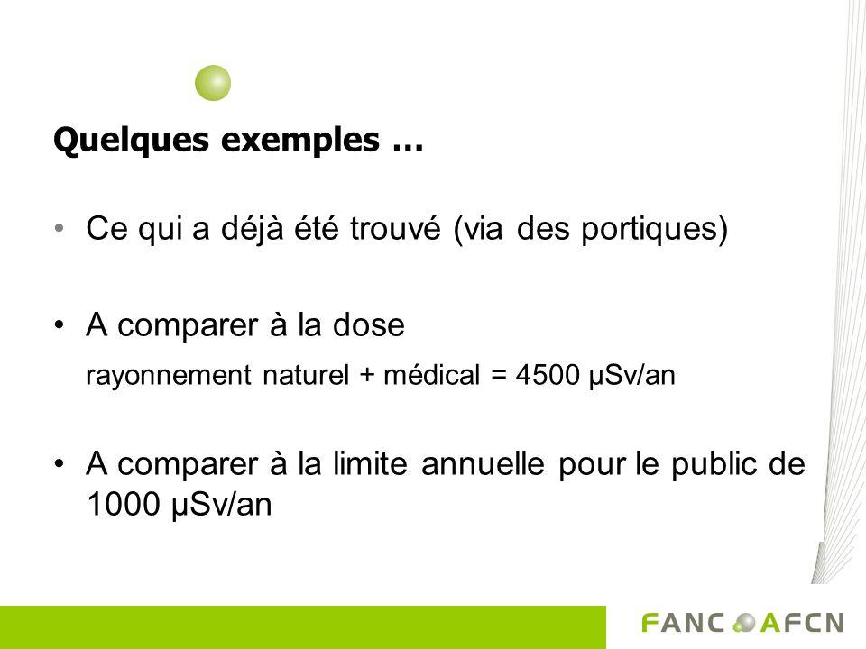 Quelques exemples … Ce qui a déjà été trouvé (via des portiques) A comparer à la dose. rayonnement naturel + médical = 4500 µSv/an.