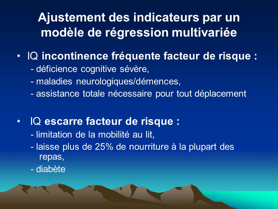 Ajustement des indicateurs par un modèle de régression multivariée