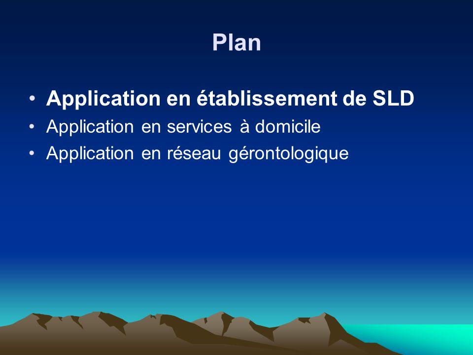 Plan Application en établissement de SLD