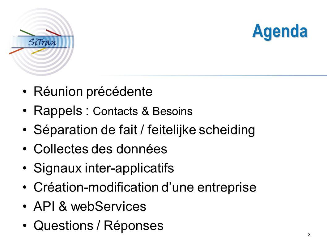 Agenda Réunion précédente Rappels : Contacts & Besoins