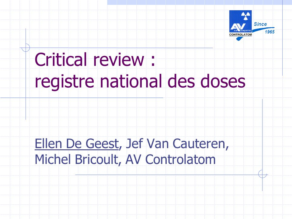 Critical review : registre national des doses