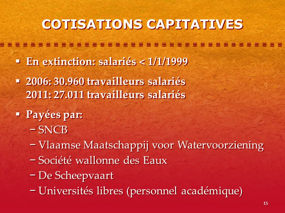 COTISATIONS CAPITATIVES