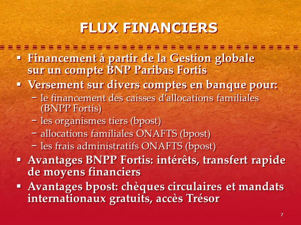 FLUX FINANCIERS Financement à partir de la Gestion globale sur un compte BNP Paribas Fortis. Versement sur divers comptes en banque pour: