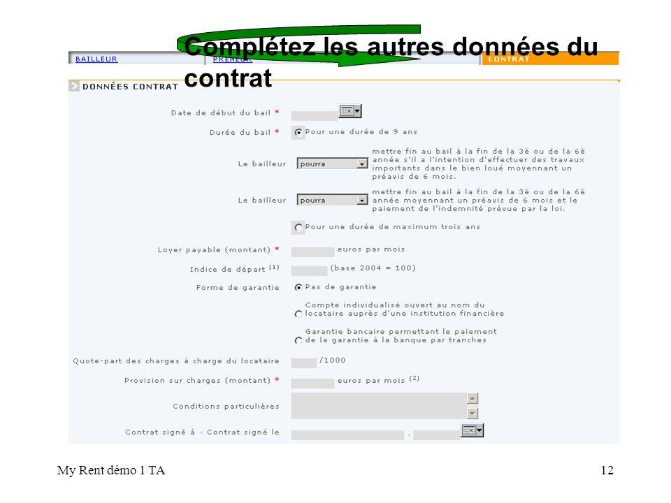 Complétez les autres données du contrat