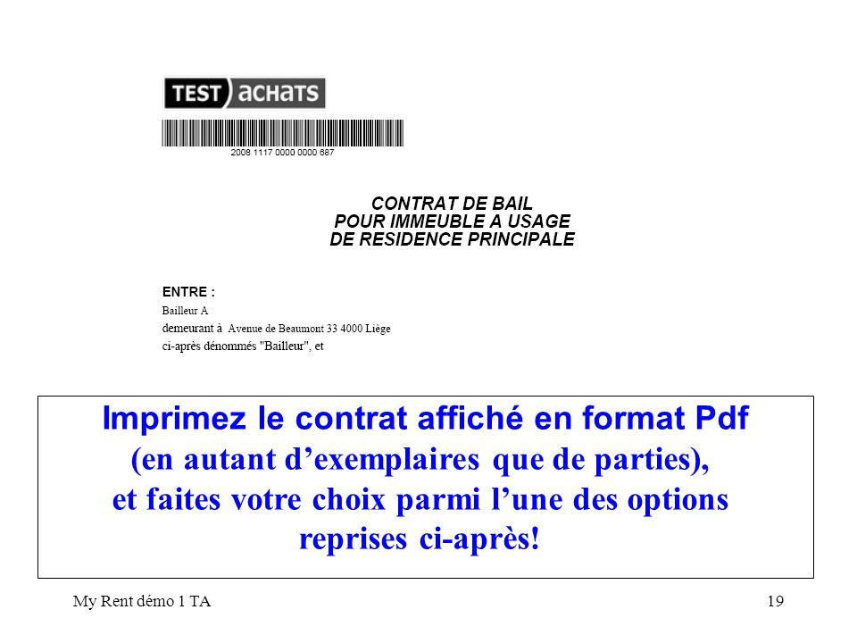 Imprimez le contrat affiché en format Pdf
