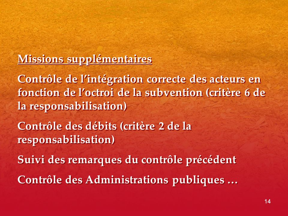 Missions supplémentaires