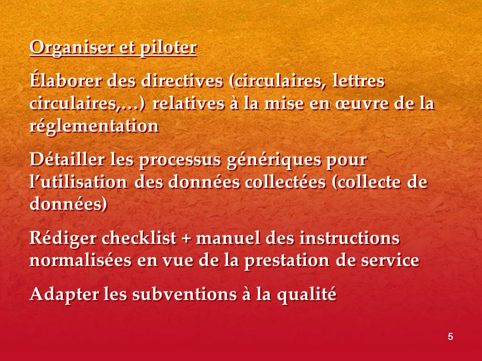 Organiser et piloter Élaborer des directives (circulaires, lettres circulaires,…) relatives à la mise en œuvre de la réglementation.