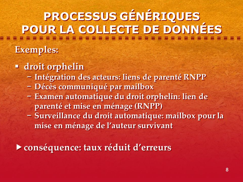 PROCESSUS GÉNÉRIQUES POUR LA COLLECTE DE DONNÉES