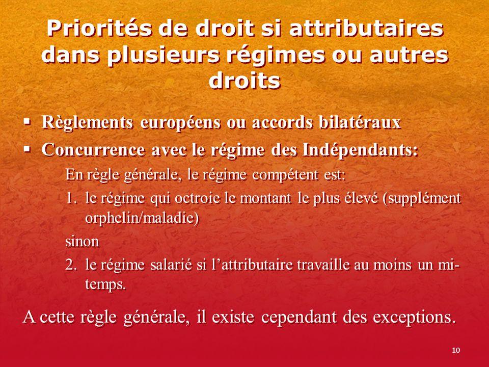 Priorités de droit si attributaires dans plusieurs régimes ou autres droits