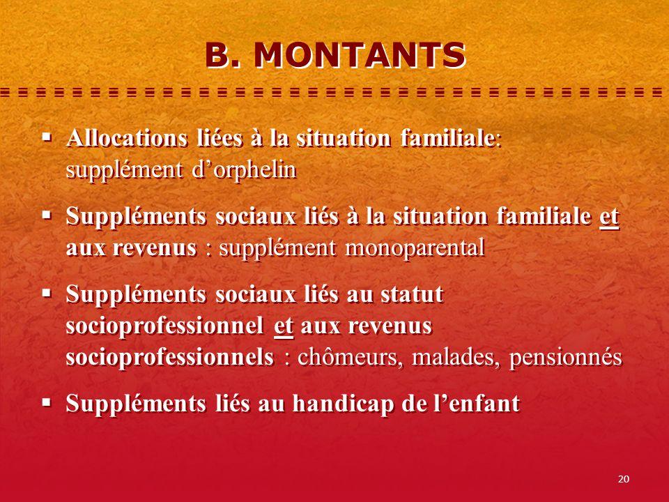 B. MONTANTS Allocations liées à la situation familiale: supplément d'orphelin.