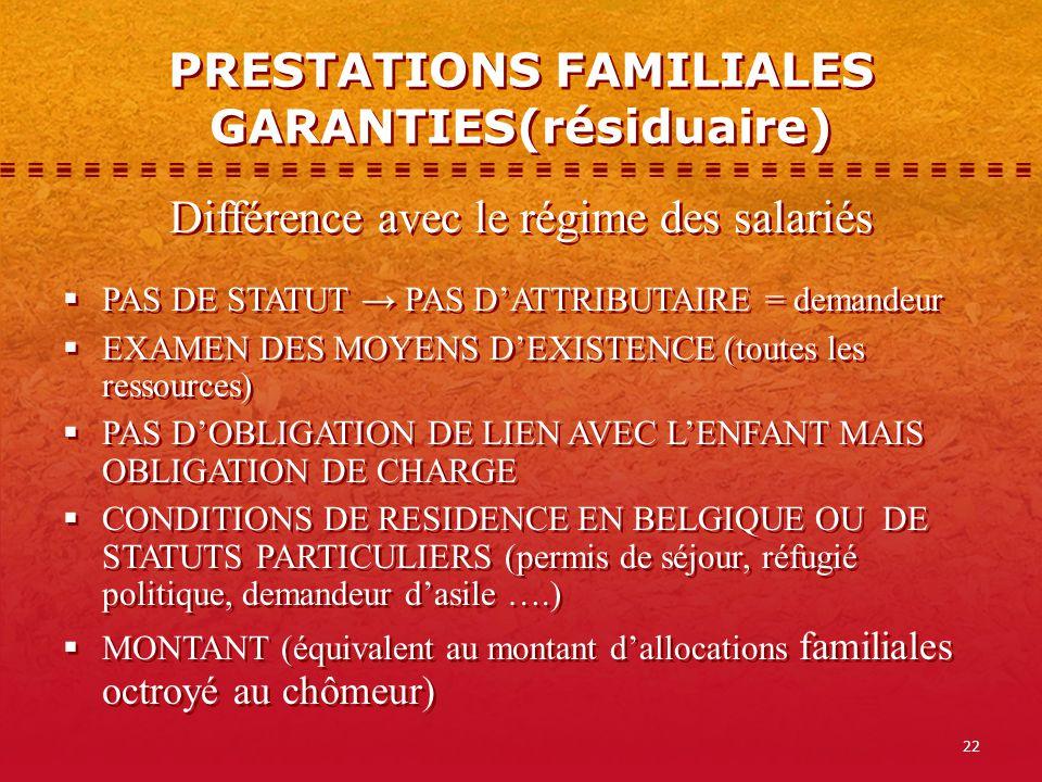PRESTATIONS FAMILIALES GARANTIES(résiduaire)