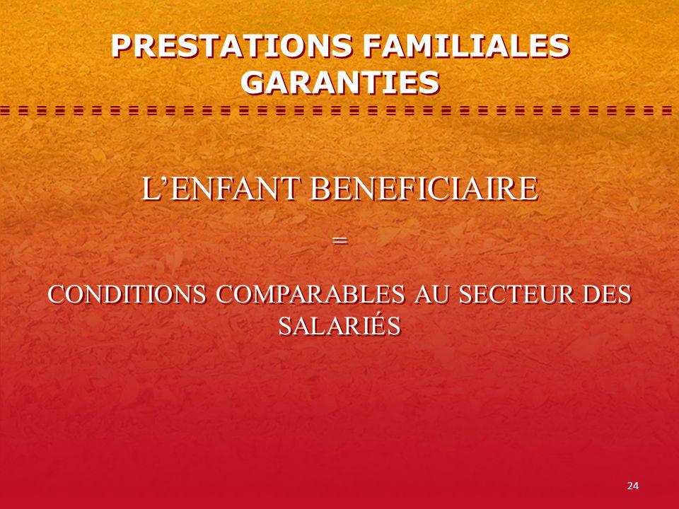 PRESTATIONS FAMILIALES GARANTIES