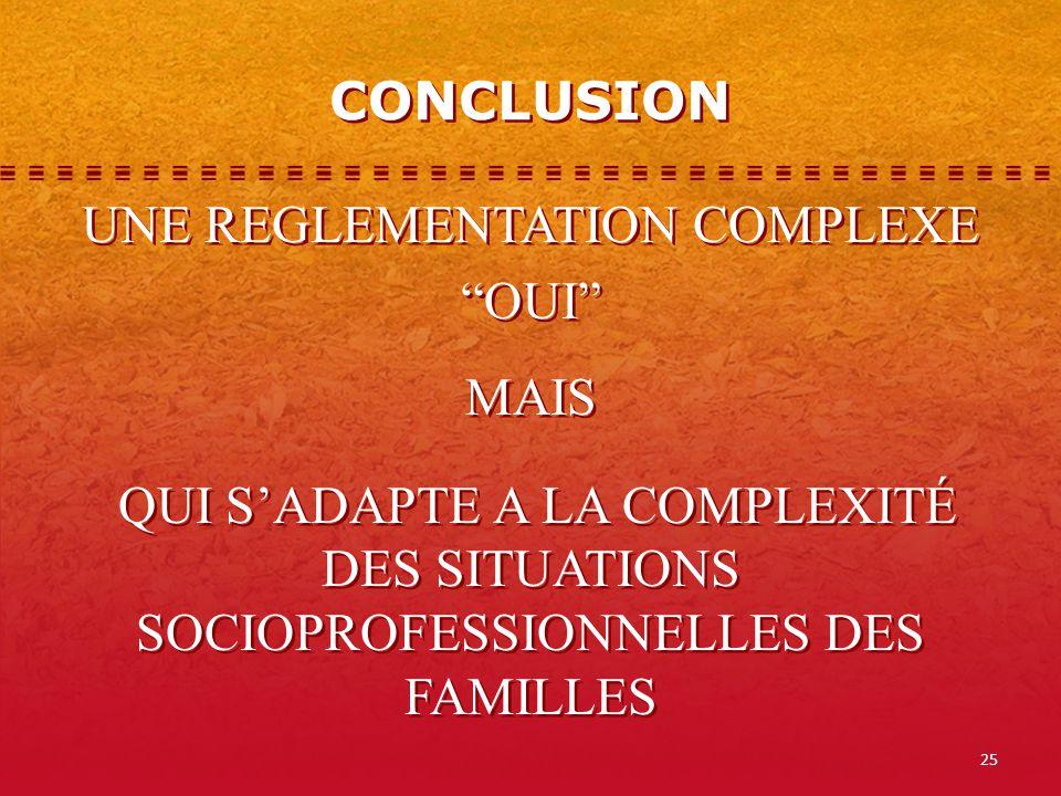 CONCLUSION UNE REGLEMENTATION COMPLEXE OUI MAIS QUI S'ADAPTE A LA COMPLEXITÉ DES SITUATIONS SOCIOPROFESSIONNELLES DES FAMILLES