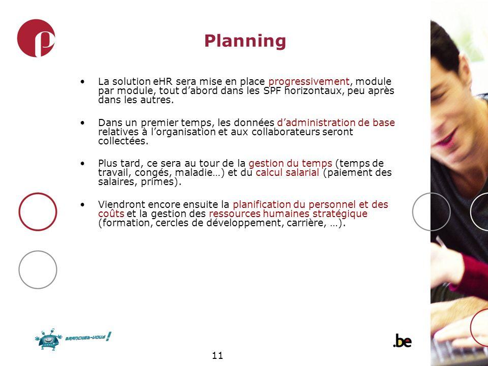 Planning La solution eHR sera mise en place progressivement, module par module, tout d'abord dans les SPF horizontaux, peu après dans les autres.