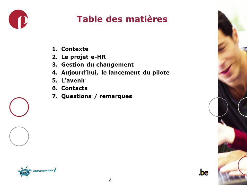 Table des matières Contexte Le projet e-HR Gestion du changement