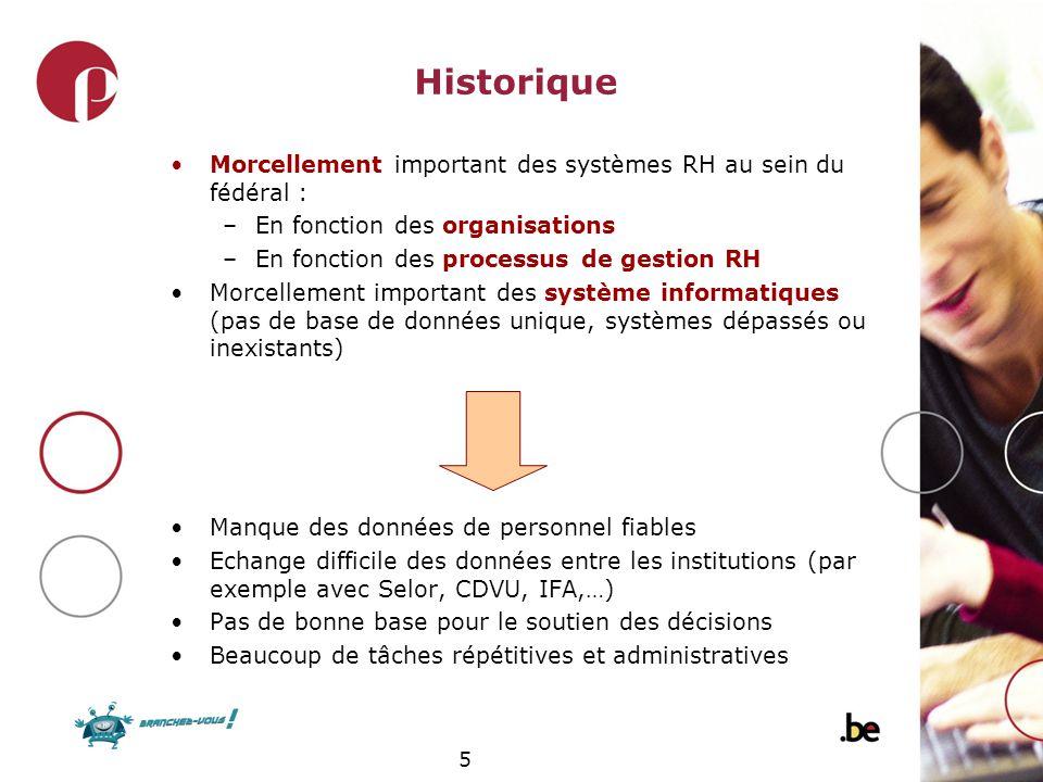 Historique Morcellement important des systèmes RH au sein du fédéral :
