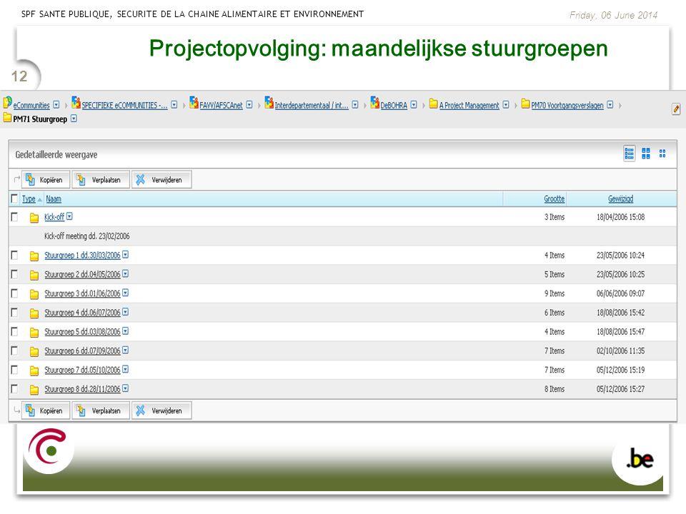 Projectopvolging: maandelijkse stuurgroepen