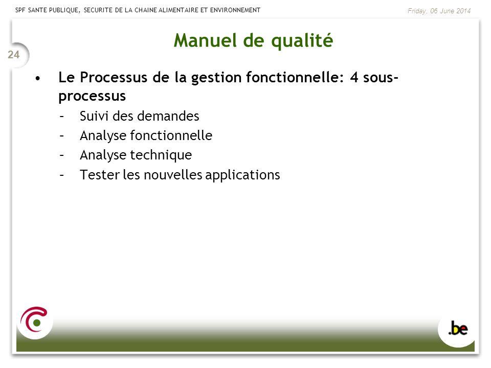 Manuel de qualité Le Processus de la gestion fonctionnelle: 4 sous-processus. Suivi des demandes. Analyse fonctionnelle.