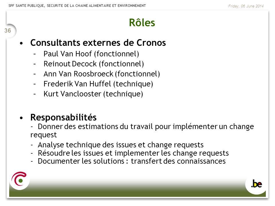 Rôles Consultants externes de Cronos