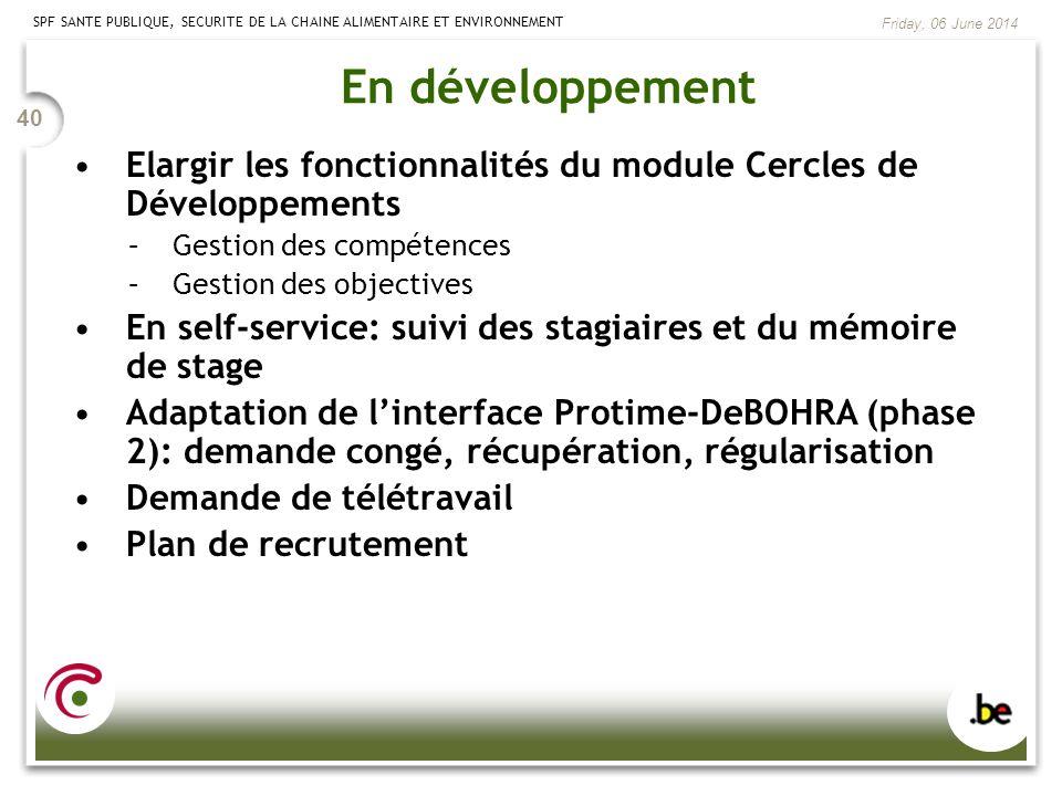 En développement Elargir les fonctionnalités du module Cercles de Développements. Gestion des compétences.