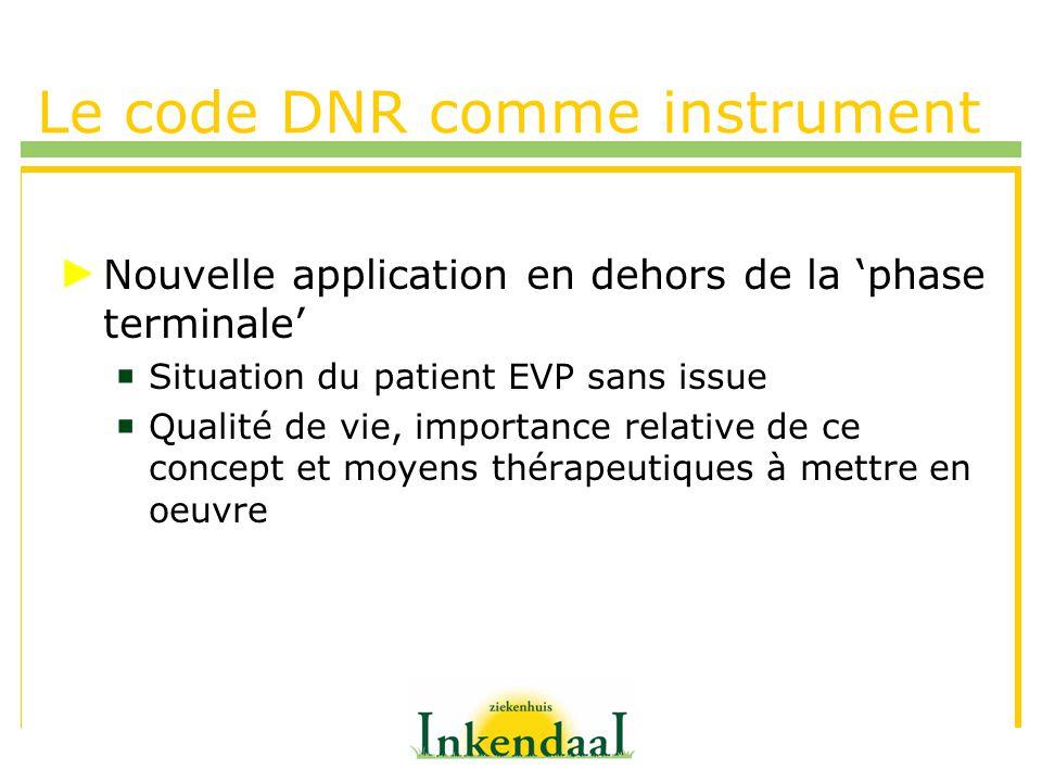Le code DNR comme instrument