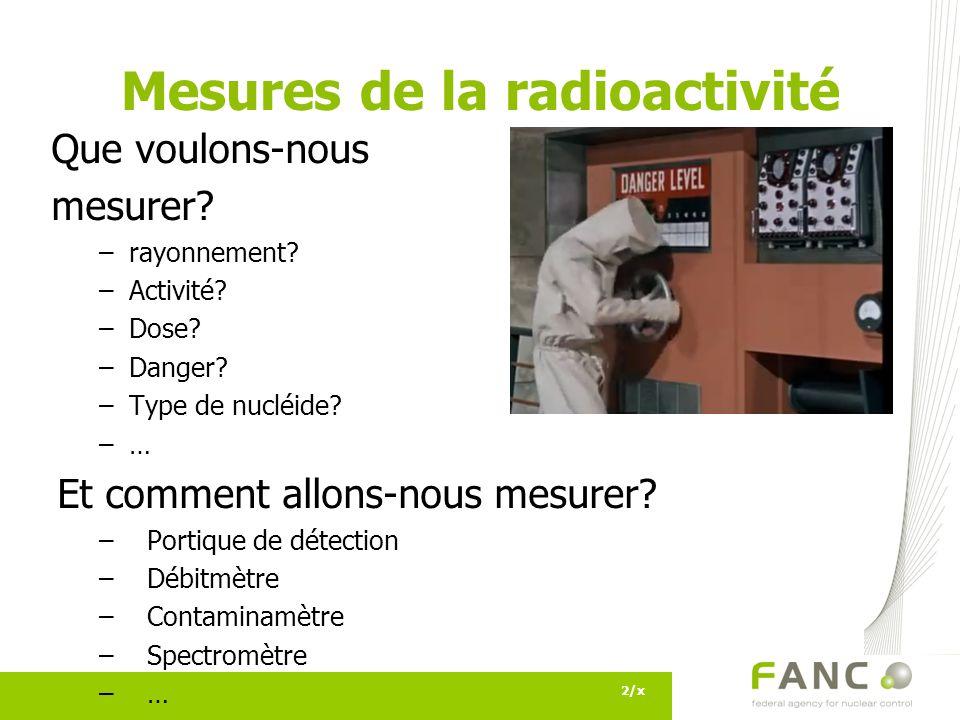 Mesures de la radioactivité