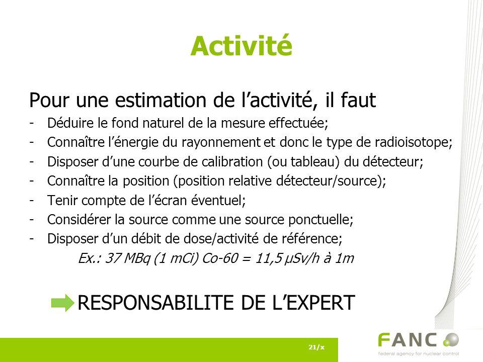 Activité Pour une estimation de l'activité, il faut
