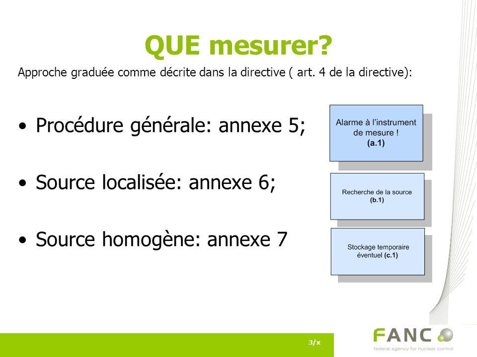 QUE mesurer Procédure générale: annexe 5; Source localisée: annexe 6;