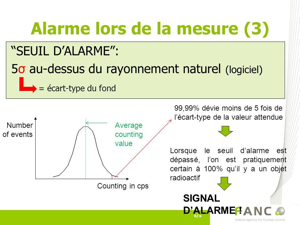 Alarme lors de la mesure (3)
