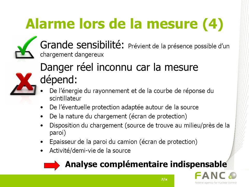 Alarme lors de la mesure (4)