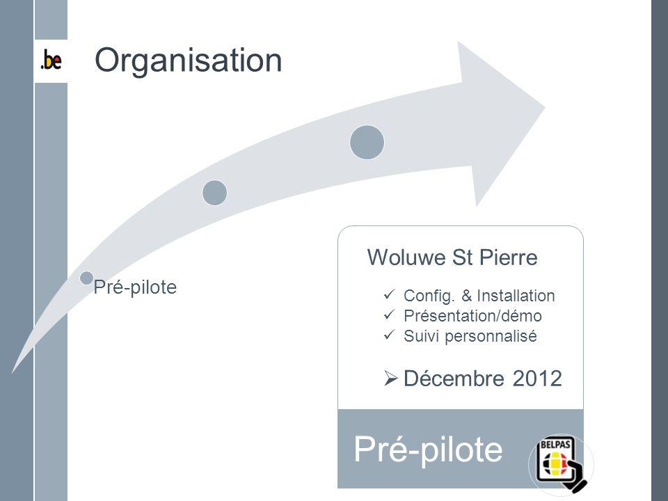 Pré-pilote Organisation Woluwe St Pierre Décembre 2012