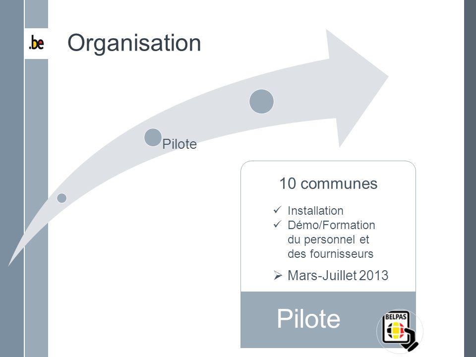 Pilote Organisation 10 communes Déploiement Total Pilote