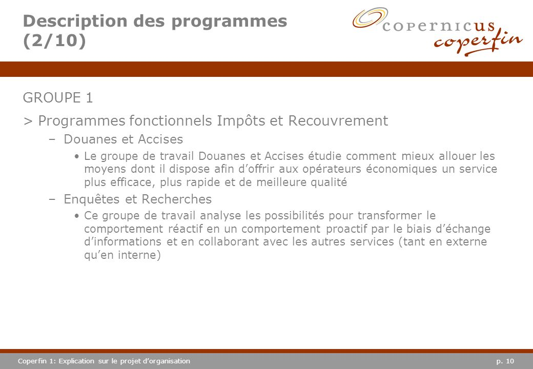 Description des programmes (2/10)