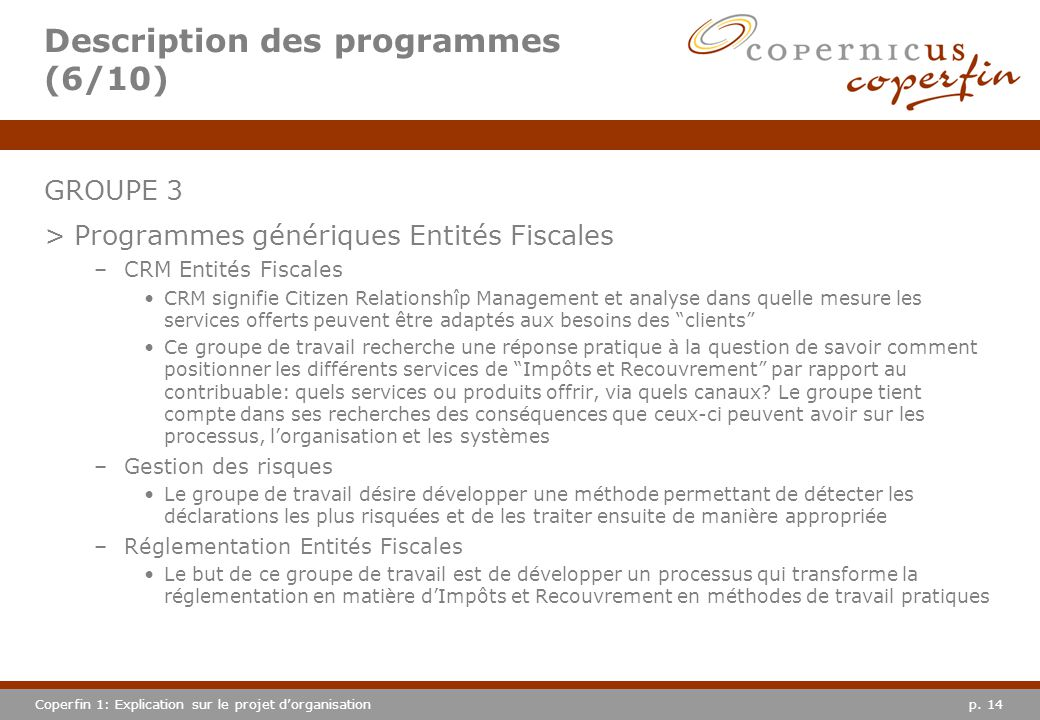 Description des programmes (6/10)