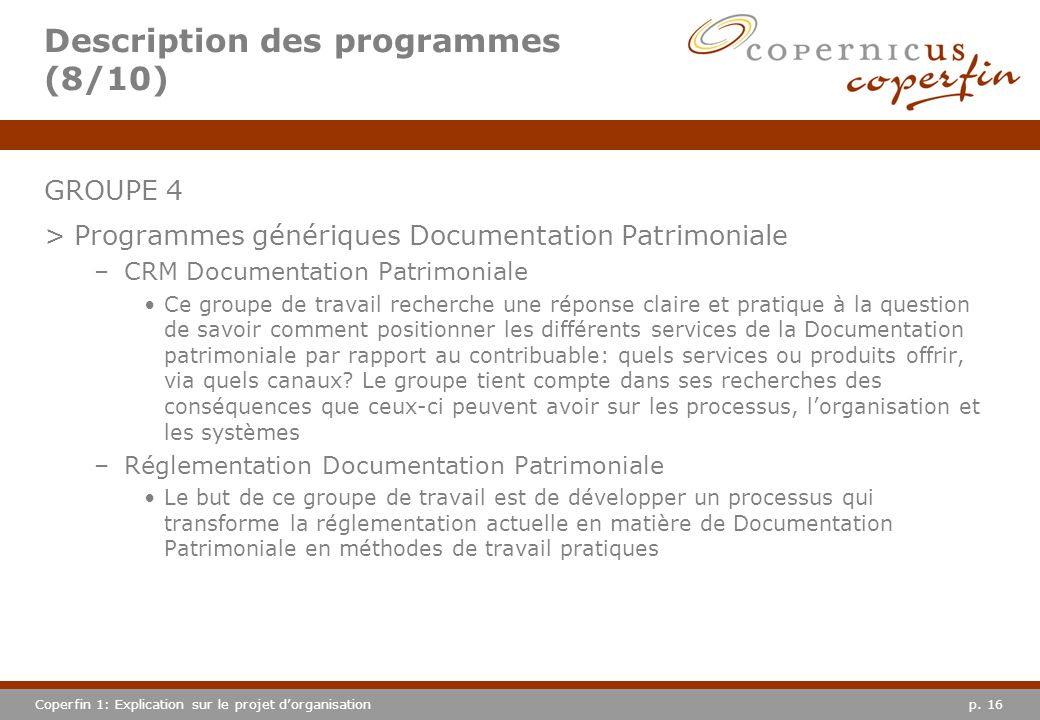 Description des programmes (8/10)