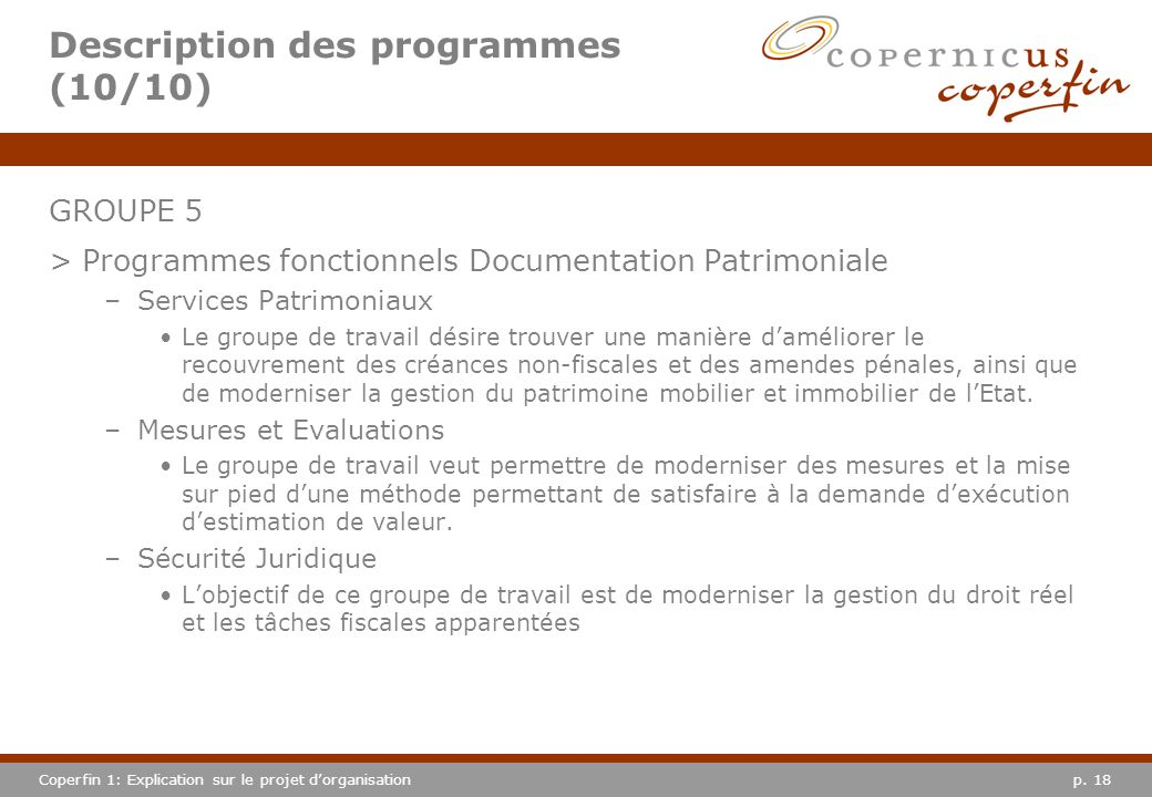 Description des programmes (10/10)
