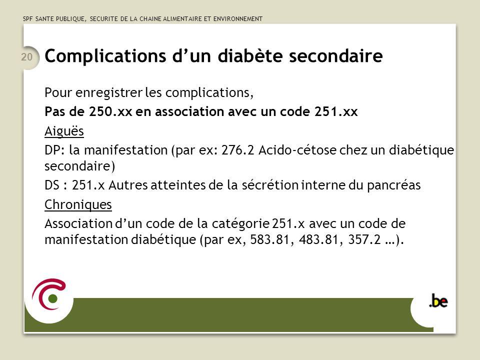 Complications d'un diabète secondaire