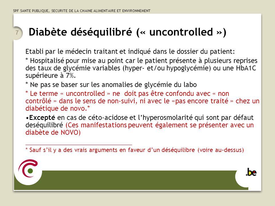 Diabète déséquilibré (« uncontrolled »)