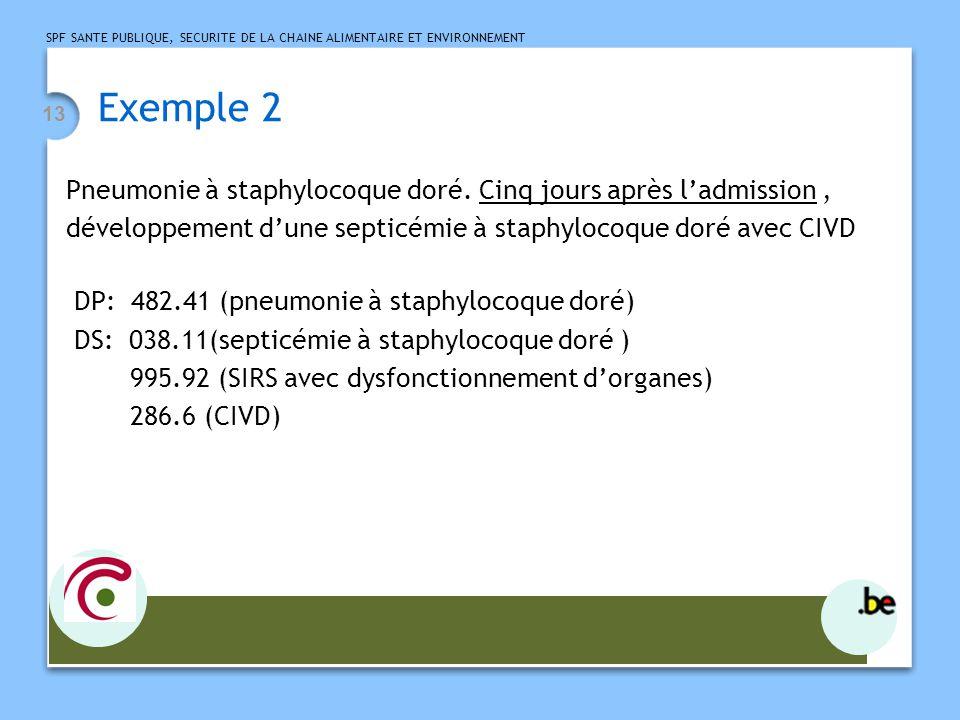 Exemple 2 Pneumonie à staphylocoque doré. Cinq jours après l'admission , développement d'une septicémie à staphylocoque doré avec CIVD.