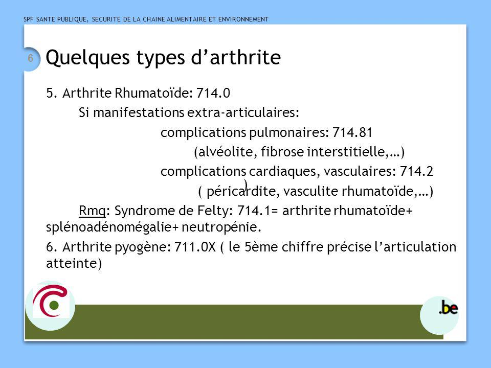 Quelques types d'arthrite