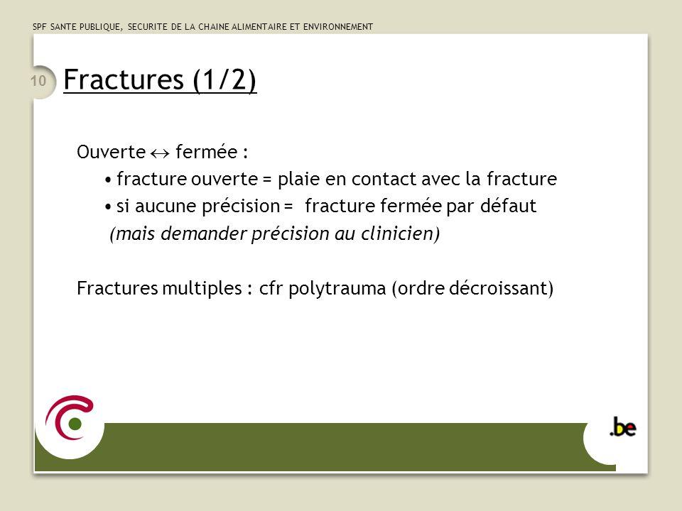 Fractures (1/2) Ouverte  fermée :