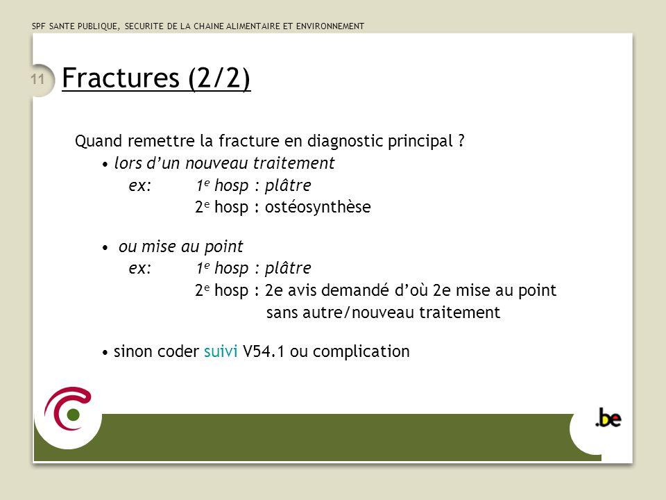 Fractures (2/2) Quand remettre la fracture en diagnostic principal