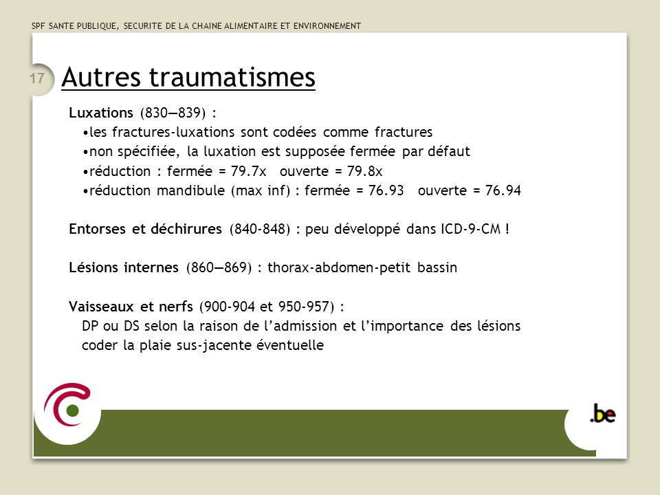 Autres traumatismes Luxations (830—839) :