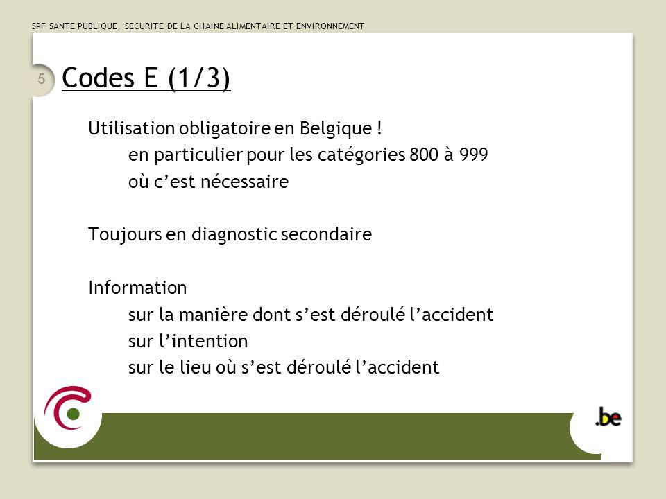 Codes E (1/3) Utilisation obligatoire en Belgique !