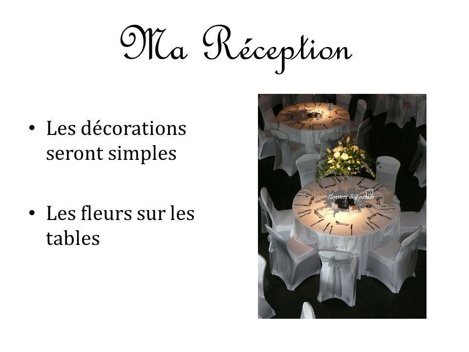 Ma Réception Les décorations seront simples Les fleurs sur les tables