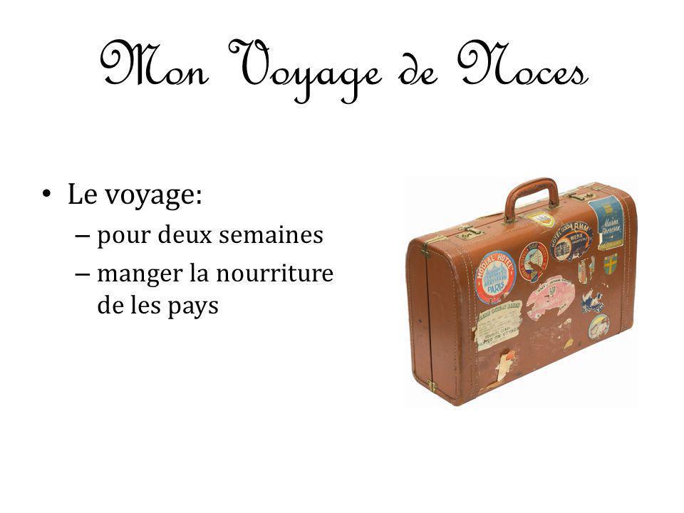 Mon Voyage de Noces Le voyage: pour deux semaines