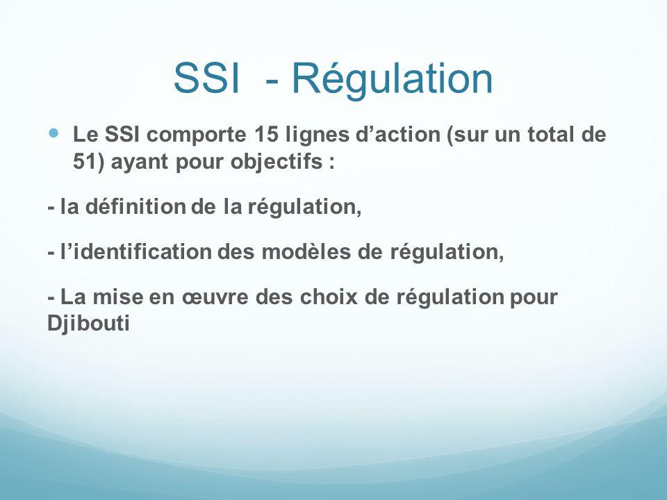 SSI - Régulation Le SSI comporte 15 lignes d'action (sur un total de 51) ayant pour objectifs : - la définition de la régulation,