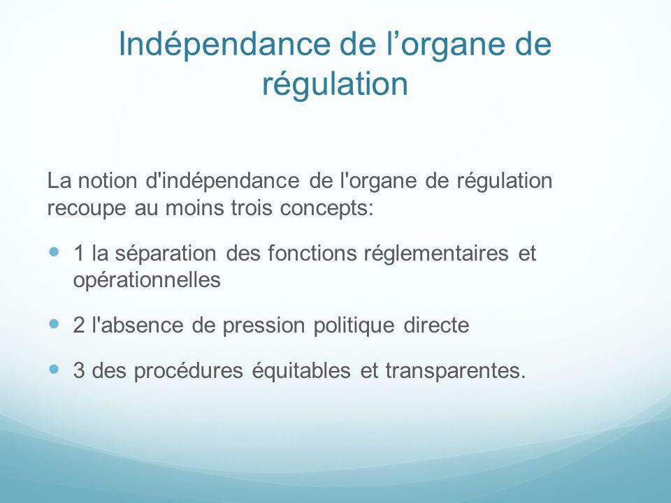 Indépendance de l'organe de régulation