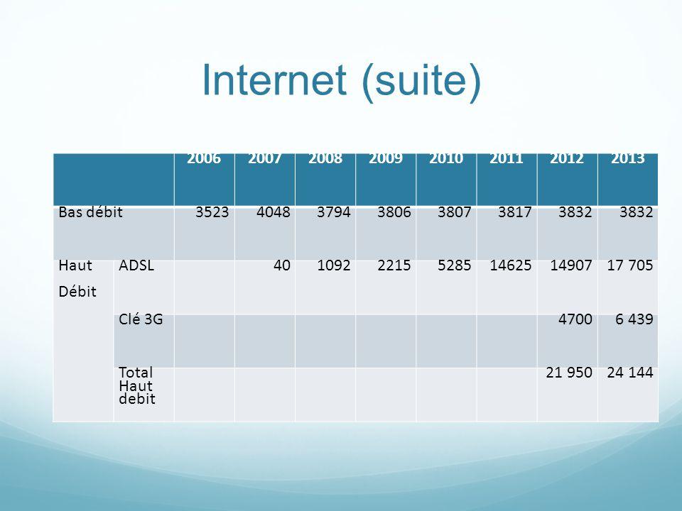 Internet (suite) 2006 2007 2008 2009 2010 2011 2012 2013 Bas débit