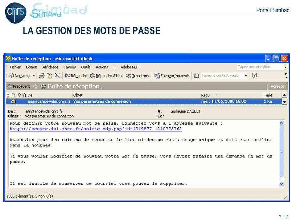 LA GESTION DES MOTS DE PASSE